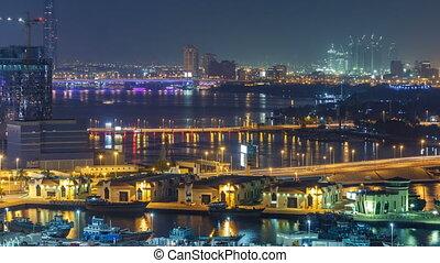 crique dubaï, timelapse, bateaux, nuit, front mer, bateau, paysage