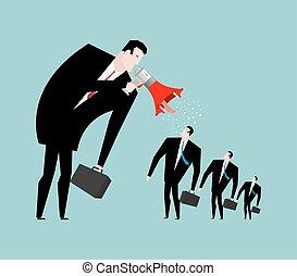 cris, donner, patron, orders., manager., employé, homme affaires, porte voix, crier