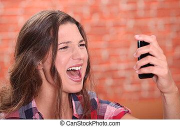 cris, femme, elle, cellphone