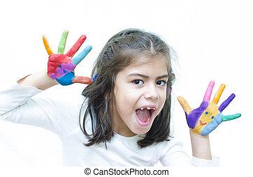 cris, girl, coloré, mains