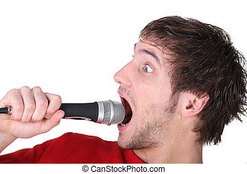 cris, microphone, homme