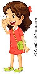 cris, peu, robe, girl, rouges