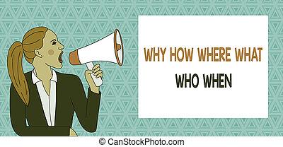 cris, rectangulaire, veste, photo, conceptuel, box., où, questions, demander, femme, jeune, pourquoi, comment, question, trouver, solutions, signe, projection, quel, texte, loudhailer, when., queue cheval