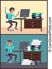 cris, vecteur, illustration, bureau, homme affaires