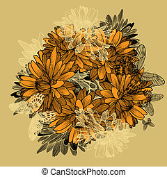 crisantemi, sfondo giallo, butterflies., floreale, hand-drawing.