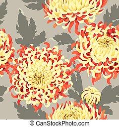 crisantemo, seamless, japonés