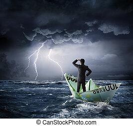 crise, bateau, euro
