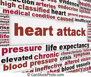 crise cardiaque, fond, message, monde médical