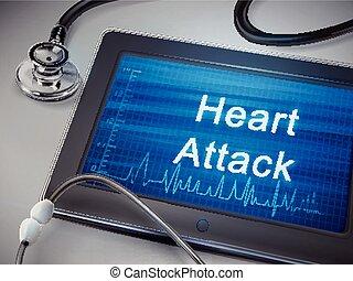 crise cardiaque, mots, tablette, exposer
