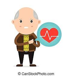 crise cardiaque, vieux, avoir, homme