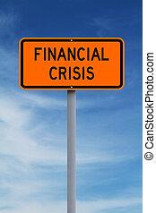 crise, devant, financier