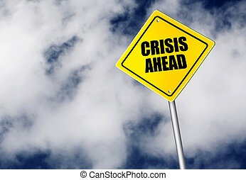 crise, devant, signe