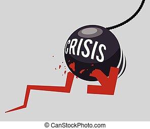 crise, financeiro, desenho