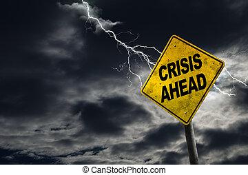crise, fond, orageux, devant, signe