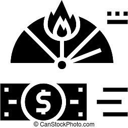 crise, glyph, inflation, financier, vecteur, illustration, icône