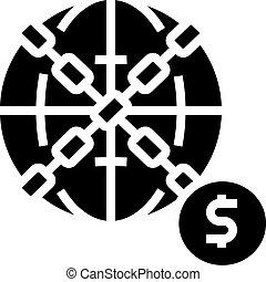 crise, mondiale, glyph, financier, vecteur, illustration, icône