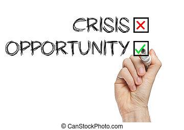 crise, pas, occasion