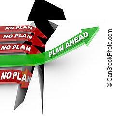 crise, planification, problème, plan, surmonter, battements, non, devant