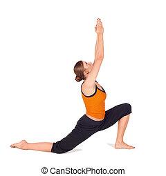 crise, séduisant, femme, pratiquer, yoga, étirage, asana