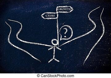 crise, vs;, crescimento, que, é, a, direita, direction?