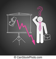 crisis., økonomisk, graph, fald, mand, forvirr, show, firma