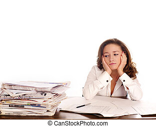 crisis., 女性実業家, headcahe., 持つ, 強調された