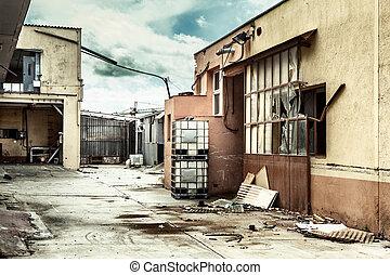 crisis., 後で, 経済, 捨てられた, 工場