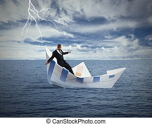 Concept of crisis and economic collapse with sinking boat
