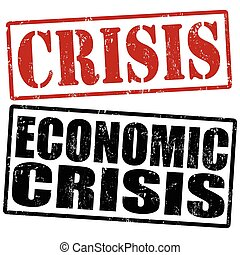 Crisis and economic crisis stamps - Grunge rubber stamps...