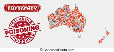 Crisis and Emergency Collage of Australia and New Zealand Map and Scratched Poisoning Stamp