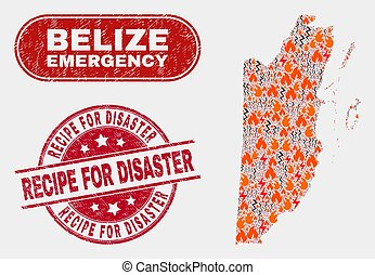 Crisis and Emergency Collage of Belize Map and Scratched Recipe for Disaster Seal