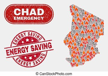 Crisis and Emergency Collage of Chad Map and Grunge Energy Saving Watermark