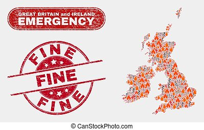 Crisis and Emergency Collage of Great Britain and Ireland Map and Scratched Fine Seal