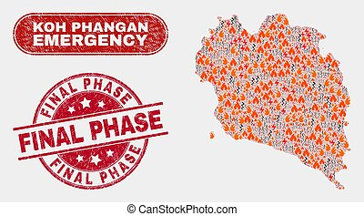Crisis and Emergency Collage of Koh Phangan Map and Distress...