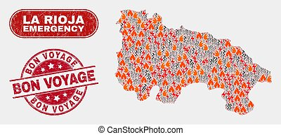 Crisis and Emergency Collage of La Rioja of Spain Map and Distress Bon Voyage Stamp Seal
