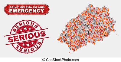 Crisis and Emergency Collage of Saint Helena Island Map and ...