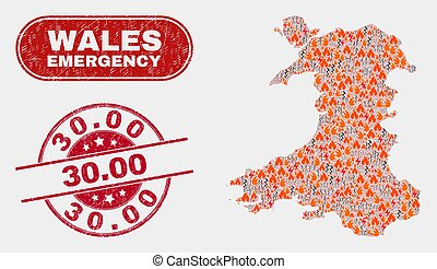 Crisis and Emergency Collage of Wales Map and Grunge 30.00 ...