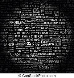 CRISIS. Background concept wordcloud illustration. Print concept word cloud. Graphic collage.