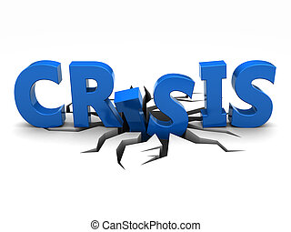 Crisis - Blue word crisis over crack