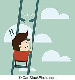 Crisis - boy climbing up a ladder.