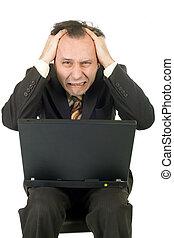crisis: businessman - businessman failure receiving bad news...