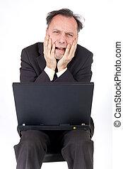 crisis: businessman - desperate businessman looking at...