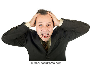 crisis: businessman - crying businessman, failure after very...