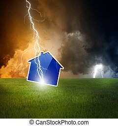 Crisis concept - Concept of crisis, lightning struck new...