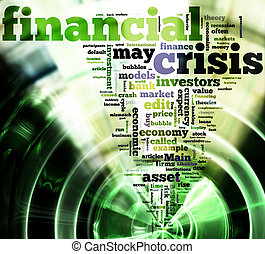 Crisis concept in word tag cloud