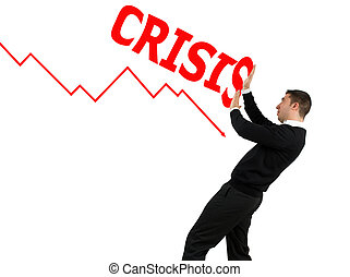 Concept of business man stopping the financial crisis
