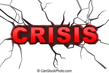 Crisis concept on craked surface - Crisis concept on white...