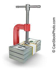 crisis., concetto, di, ridurre, costs., morsa, e, dollari.