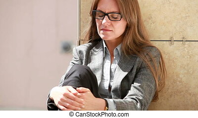Crisis - Contemplating business lady evaluating business...