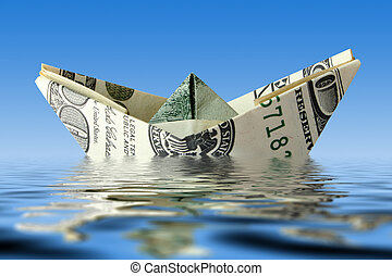 crisis., dinero, barco, en, agua